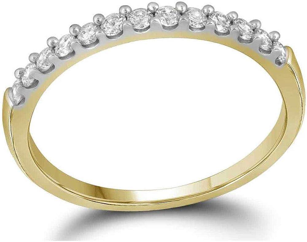 14kt Yellow Gold Womens Round Diamond Slender Wedding Anniversary Band 1//4 Cttw