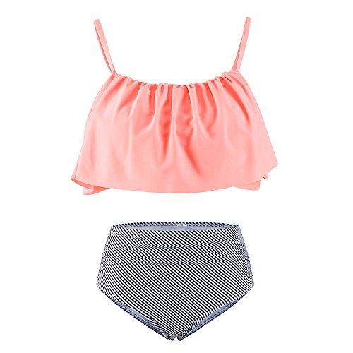 Lemef Falbala Bathing Suit High Waisted Bikini Thin Shoulder Straps Swimsuit For Women