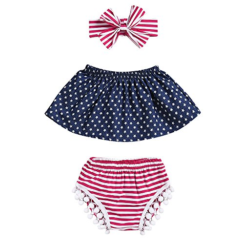 FTXJ 3PCS Infant Baby Girls Boys Sleeveless Independence Day Stars Stripes American Flag Print Off Shoulder Top + Tassel Shorts + Hairband Outfit (0-6 Months, Dark Blue)