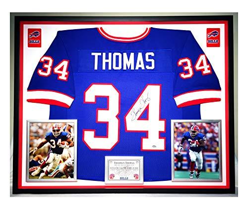 Premium Framed Thurman Thomas Autographed/Signed Buffalo Bills Jersey - SHWARTZ COA - Framed Thurman Thomas Buffalo