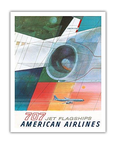 Boeing 707 Jet Flagships - American Airlines - Vintage Airline Travel Poster by Herbert Danska c.1957 - Fine Art Print - 11in x 14in