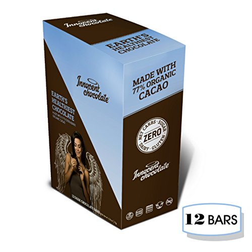 Cacao Extra Dark Chocolate - Innocent Chocolate - 77% Extra Dark Chocolate Bar - 12 Bars - 100% Organic, Natural, and Allergen Free with Zero Net Carbs