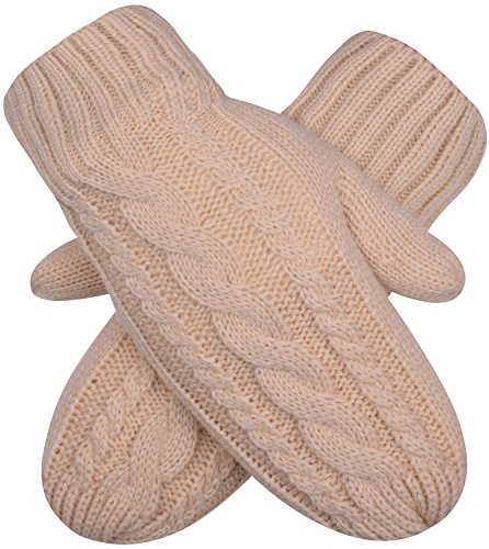 Nude Pink Womens Winter Gloves Cable Knit Mittens Knitted Winter Gloves (Cable Knit Mittens)