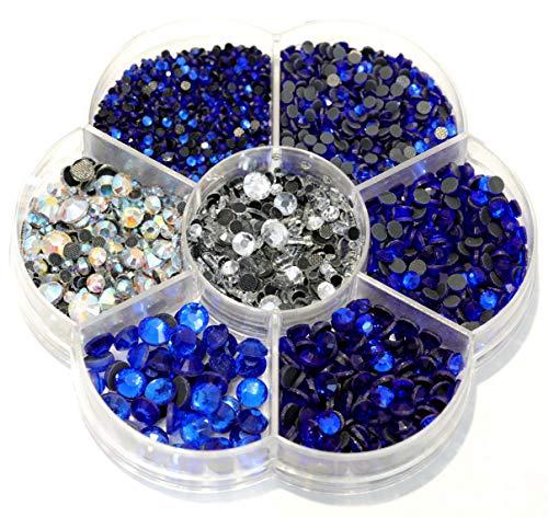 BLINGINBOX Hotfix Rhinestone 28 Colors to Choose 3000pcs Mixed Sizes(ss6-ss30) Sapphire DMC Hot Fix Glass -