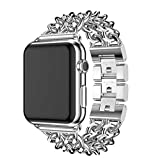 For Apple Watch Bands, Ramida Stainless Steel Double Cowboy Chain Metal Apple Watch Band 42mm Replacement Bracelet For Apple Watch Series 1 Series 2 Series 3 All Edition (Silver)