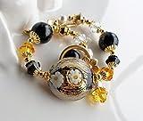 Murano Black and Gold Statement Bracelet
