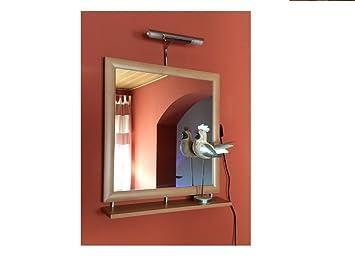 Spiegel Wandspiegel Ablage Beleuchtung Erle 60 x 64 cm Badspiegel ... | {Spiegel mit beleuchtung und ablage 71}