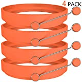 Ozera 4 Pack Nonstick Silicone Egg Ring Pancake Mold, Round Egg Rings Mold, Orange