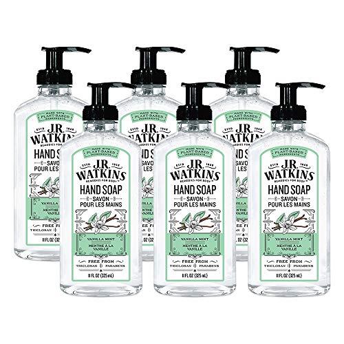J.R. Watkins Hand Soap, Gel, 11 fl oz, Vanilla Mint (6 pack)