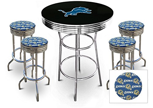 "5 Piece Black Pub/Bar Table Set with 4 – 29"" Swivel Stools Featuring Your Favorite Football Team Logo Fabric Covered Seat Cushions! (Lions Pub Table)"