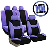 FH GROUP FH-FB030115-COMBO FH GROUP FH Group Light & Breezy Purple/Black Cloth Seat Cover Set Airbag & Split Ready- Fit Most Car, Truck, Suv, or Van