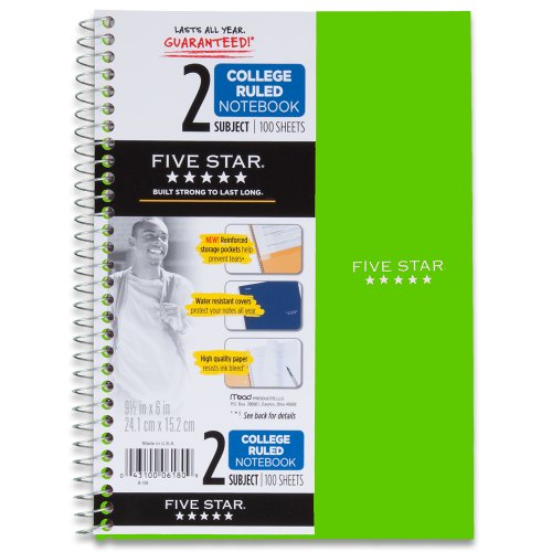 Five Star Wirebound Notebook, 2-Subject, 100 College-Ruled Sheets, 9.5 x 6 Inch Sheet Size, Lime (72134)