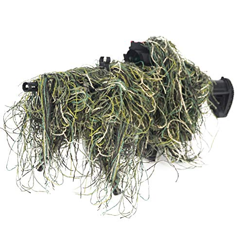 GUGULUZA 3D Rifle Gun Wrap Cover Use Elastic Strap for Camouflage Hunting Ghillie Suit (Woodland)
