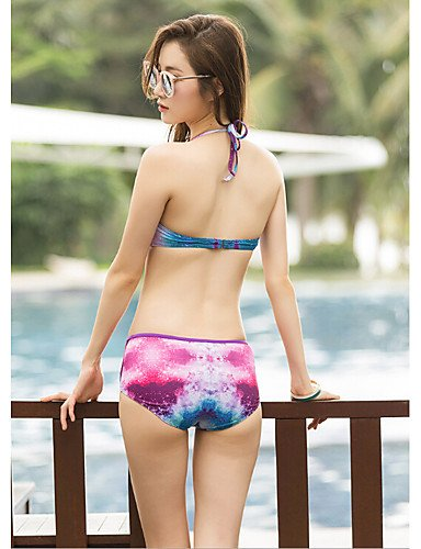 HJL Bikini-Floral Con LazoHalter-Espándex Blue