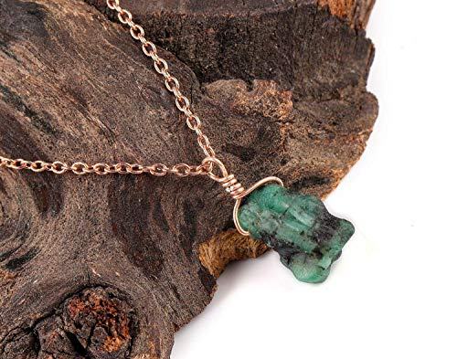 Emerald Pendant | Raw Gemstone Jewelry | May Birthstone | 925 Sterling Silver Chain | Necklace for Women | Mother-s Day Special | Natural Emerald | Genuine Gemstone Pendant Necklace ()