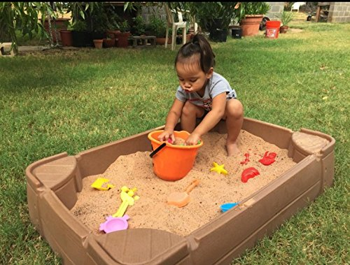 STS SUPPLIES LTD Sandbox with Lid Toys for Kids Outdoor Sandbox Large Plastic Sandbox with Cover Backyard Toddler Children & eBook by AllTim3Shopping
