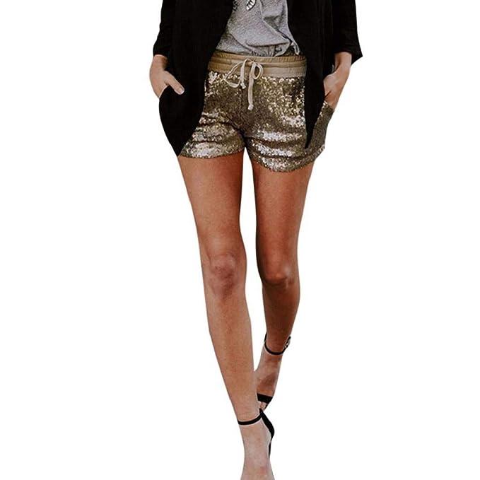 SHOBDW Shorts brillantes con bolsillo moda en fiestas - Pantalones cortos con lentejuelas y bolsillo para fiesta.