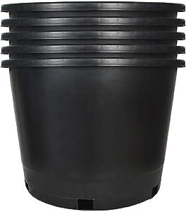 Plant Nursery Pot 5-Pack 10 Gallon Plastic Garden Planter Pots Flower Seedling Injection Molded Container Seed Starting Pot Set for Indoor Outdoor Plants Seedlings Vegetables Black