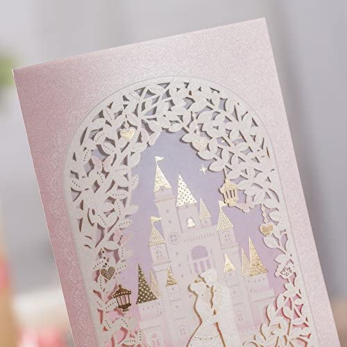 1PC Invitation Kit with Bride /& Groom in Castle and Bronzing Design Sweet Love WISHMADE 3D Red Laser Cut Wedding Invites with Printable Insert and Envelope