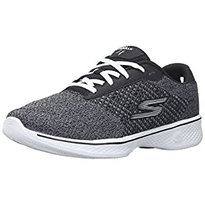 Skechers Performance Women's Go Walk 4 Exceed Walking Shoe, Black/White, 9 M US