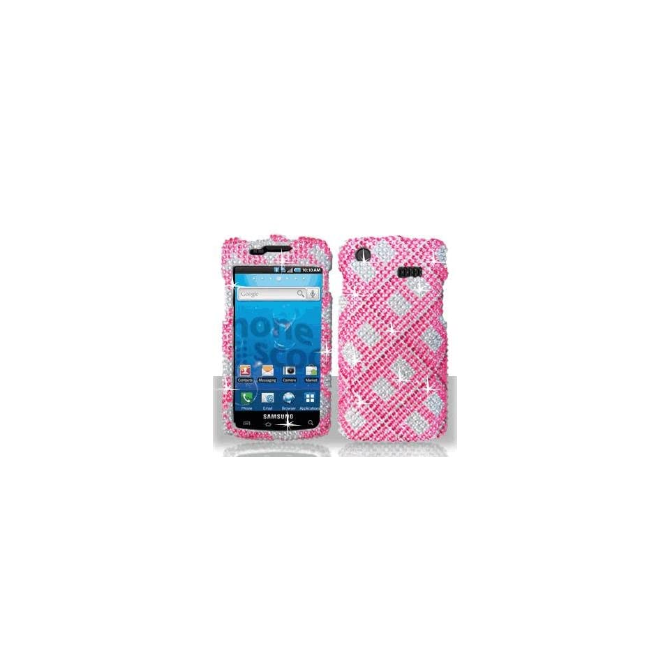 Premium   Samsung i897/Captivate Full Diamond Hot Pink Plaid Cover   Faceplate   Case   Snap On   Perfect Fit Guaranteed