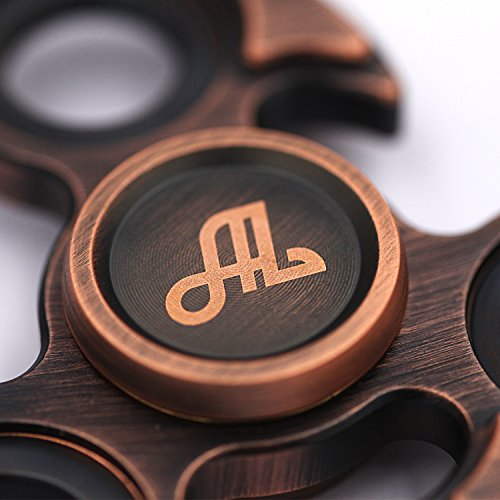 Fidget Spinner Metal, Alquar Eagle Eye Antique Pure Copper Tri Hand Spinner, Customized Professional Spinner Bearing Quiet Smooth Spin, Luxury Metal GiftBox Set