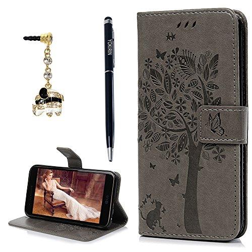 for LG K20 V Case, LG K20 Plus, LG Harmony, LG K10 2017, Embossed Tree Pattern Magnetic Flip Wallet Case Premium Leather TPU Inner Bumper Card Holder Wrist Strap Cover with Dust Plug & Stylus, Blue ()