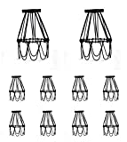 Industrial Metal Bird Cage Lamp Guard String Light Shade Open Close Flower Ceiling Hanging Pendant Island Lighting Vintage Bulb Wire Shading Steampunk Victorian Cover Lightshade Lampshade (10 Pack)