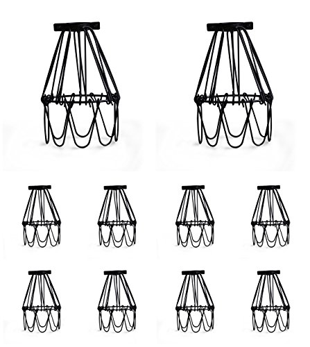 Industrial Metal Bird Cage Lamp Guard String Light Shade Open Close Flower Ceiling Hanging Pendant Island Lighting Vintage Bulb Wire Shading Steampunk Victorian Cover Lightshade Lampshade (10 (Bird Cage Accent Lamp)