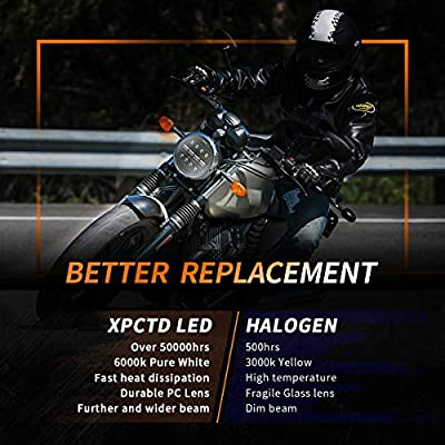XPCTD DOT 7 Inch LED Headlight Motorcycle Headlamp With Mounting Bracket For Street Glide Road King Road Glide Electra Glide Fat Boy Ultra Limited Black: Automotive