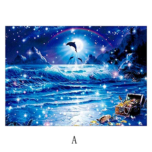 - DIY 5D Diamond Painting by Number Kit, Seaintheson Dolphin Crystal Rhinestone Embroidery Stitch Full Drill Diamond Arts Craft Canvas Home Decor Wall Sticker - 40x30CM