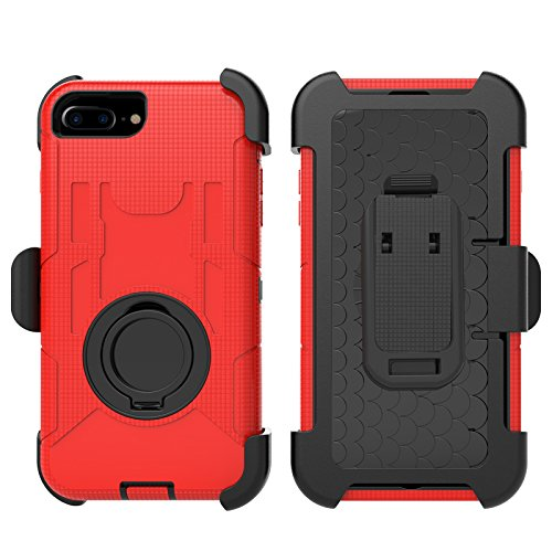 iPhone 7 Plus Case, Jeccy Dual Layer Full-body Shock Proof Hybrid Heavy Duty Armor Defender Protective Back Splint Case With 360° Rotating Kickstand for iPhone 7 plus 5.5 inch