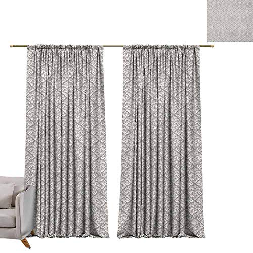 berrly Blackout Window Curtain Panel Damask,Arabesque Tile with Oriental Design Elements Ancient Revival Swirled Leaf Motif, Taupe White W84 x L108 Tie Up Shades Rod Blackout Curtains