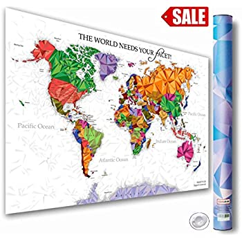 Watercolor world map colorful paint on white paper hd quality amazoncom scratch off world map poster with detailed us states colorful world map poster publicscrutiny Images