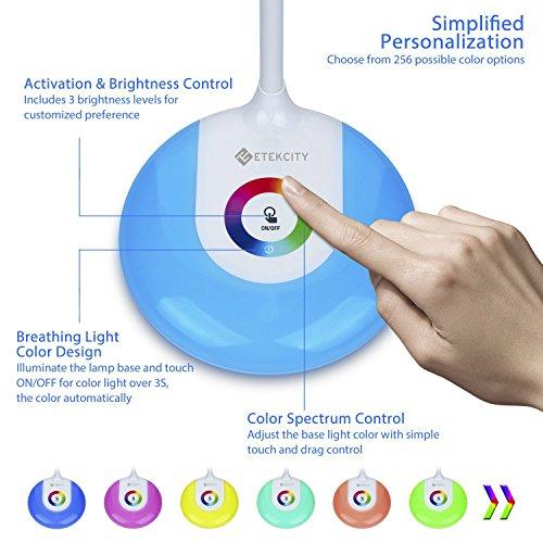 Etekcity LED Desk Lamp with Flexible Gooseneck Adjustable Brightness Level Night Light, 1000mAh Rechargeable Eye-caring Colorful Table Light with USB Port Touch Control (256 Base Color) by Etekcity (Image #1)