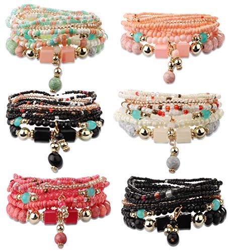 FIBO STEEL 6 Sets Bohemian Stackable Bead Bracelets for Women Girls Stretch Multilayered Bracelet Set Multicolor Jewelry ()