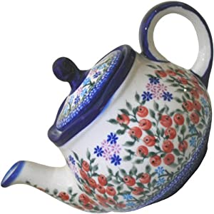 Polish Pottery Ceramika Boleslawiec 0105/282 Teapot Fruti, 3-1/4-Cup, Royal Blue Patterns