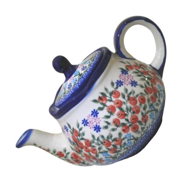Polish Pottery Ceramika Boleslawiec 0105/282 Teapot Fruti, 3-1/4-Cup, Royal Blue Patterns