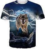 Uideazone Teen Boys Girls Cool Lightning Wolf T Shirt Novelty Graphic Tee Top