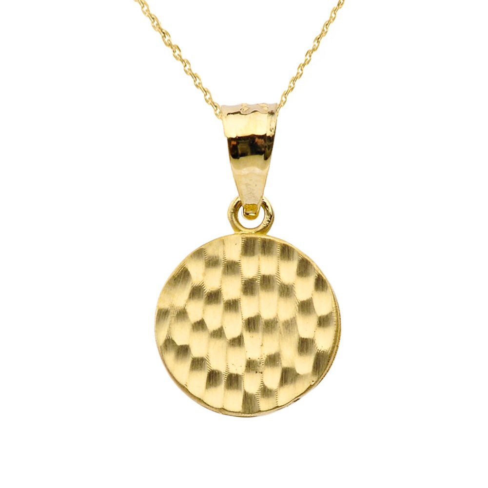Fine 14k Yellow Gold Love Hammered Round Charm Pendant Necklace and Earring Set, 20'' by Claddagh Gold (Image #2)