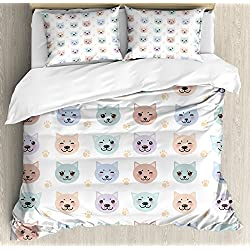 Cat Duvet Cover Set by Ambesonne, Smiley Cat Muzzle and Paw Prints Pattern on Cartoon Animal Themed Kitty Kids Nursery, 3 Piece Bedding Set with Pillow Shams, Queen / Full, Multicolor