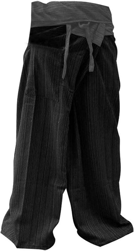 Mr.Bangkok - Pantalones de yoga, estilo pescador, algodón, talla grande, color gris y negro
