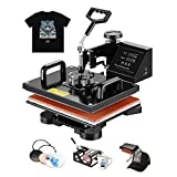 "SUNCOO 5 in 1 Heat Press Machine Professional Digital Transfer Sublimation Hot Pressing Machine- Swing Away,Multifunction T-Shirt/Mug/Hat Plate/Cap Press,15x15"" Combo Kit"