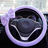 Hsdris Steering Wheel Cover Big Bow with Flash Drill Environmentally Friendly Rubber Ring Non-Slip odorless Beautiful Universal 15 inch - A