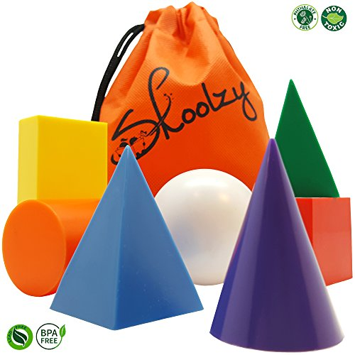 7 Jumbo Geometric Solids 3D Geometry Math Manipulatives Shapes Set by Skoolzy - Montessori Materials Occupational Therapy Autism Elementary Classroom Supplies Geosolids Models - Triangular Face Shapes