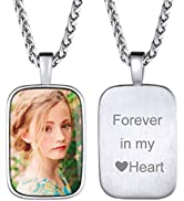 ChainsHouse Personalized Photo Necklace Men Women, Stainless Steel/18K Gold Plated Chain, Custom ...
