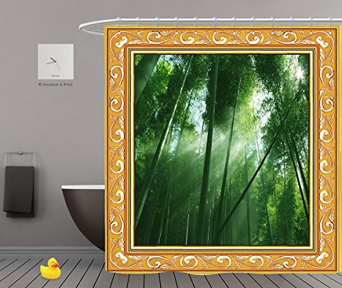 1970's Halloween Costumes In A Box (iPrint Shower Curtains 2.0,Wood Frame Decor,Mystic Forest Trees and Leaves Modern Art Scene Print Magical Fall Photo In National Park With Vivid Leaf Plant Eco Earth 1167,Unique Shower Curtains)