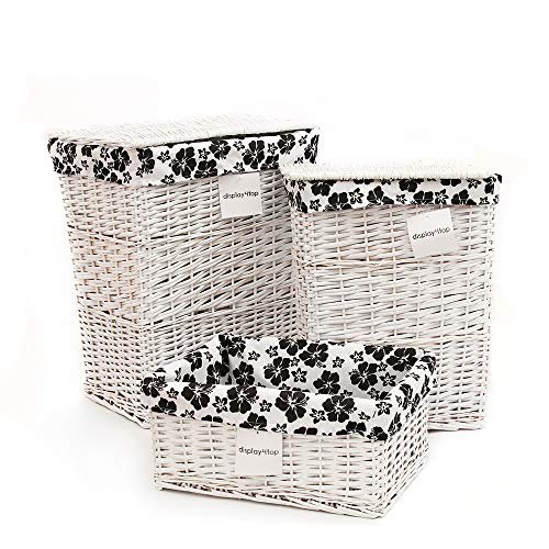 Display4top White Home Woven Willow Baskets,Set of 3 Utility Storage Baskets with Lining,Wicker Decorative Organizing Baskets (Large/Medium/Small) (Willow Laundry White Basket)