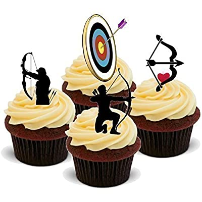 Baking Bling Novelty Archery Mix - Birthday / Sport / Special Occasion Standups 12 Edible Standup Premium Wafer Cake Toppers: Toys & Games
