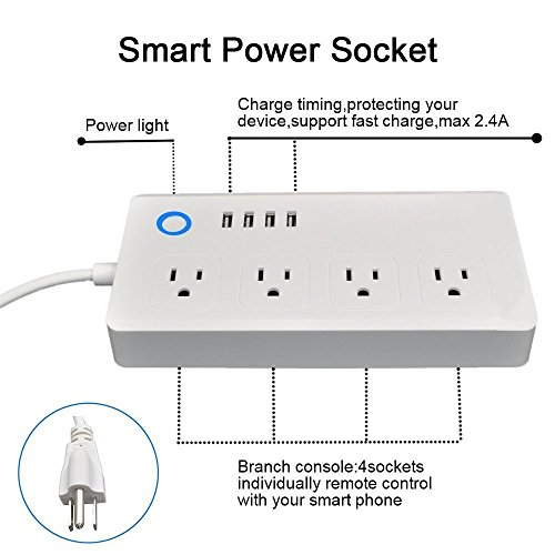 Power Strip Socket DIWUER WiFi Smart Multi Outlets with 4 Plug 4 USB Ports Work with Amazon Alexa Surge Protector Timer Remote Control by iPhone and Android Phone by DIWUER (Image #1)